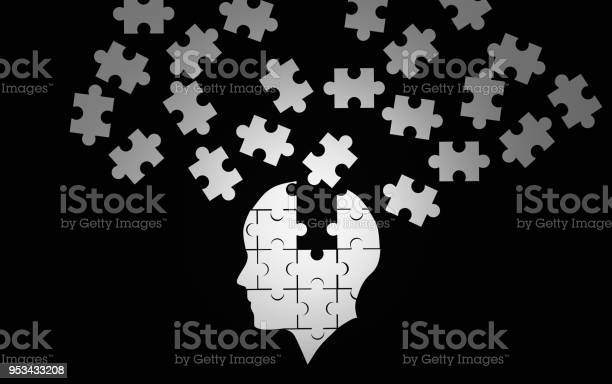 White jigsaw puzzle as a human brain on black concept for alzheimers picture id953433208?b=1&k=6&m=953433208&s=612x612&h=cfktvxjts0uug8pt o4s2i0rcvqqefj4 ee1hw7lysm=