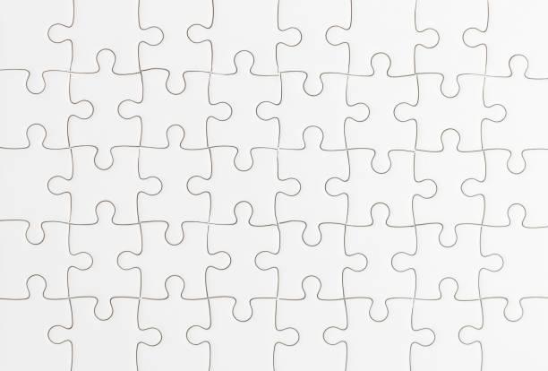 white jigsaw puzzle background stock photo