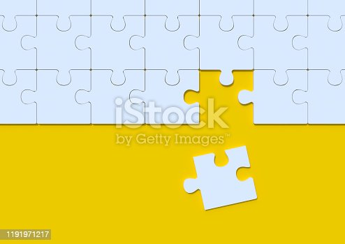 White jigsaw puzzle on yellow background with copy space. Connected blank puzzle pieces. Business strategy Teamwork and problem solving concept. Minimal creative concept. 3d rendering illustration