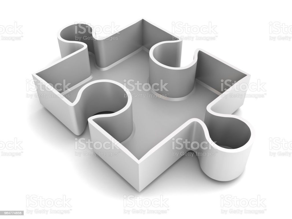 White jigsaw puzzle piece isolated on white background with shadow 3D rendering royalty-free stock photo