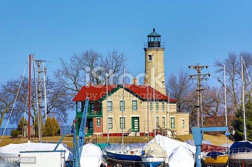 177362898 istock photo White Kenosha Lighthouse in Wisconsin 1127046506