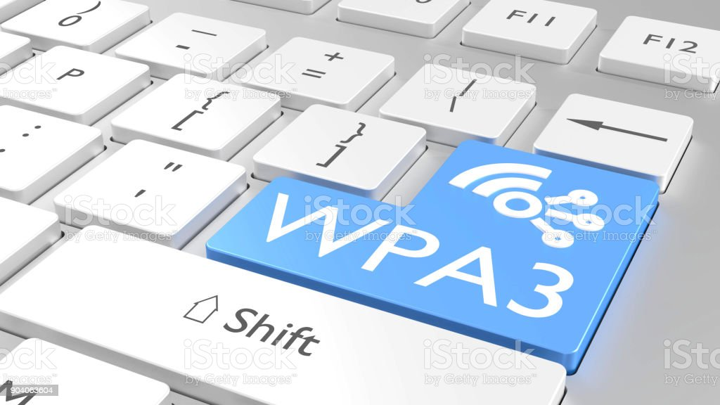 White keyboard with a blue enter key and the text WPA3 stock photo