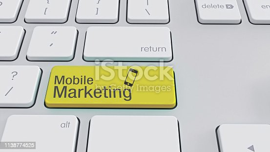 860524646istockphoto White Keyboard with mobile marketing text 1138774525