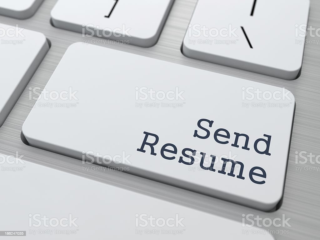 White Keyboard with Send Resume Button. stock photo