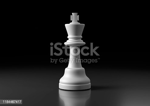 White king chess, standing against black background. Chess game figurine. Leader success business concept. Chess pieces. Board games. Strategy games. 3d illustration, 3d rendering