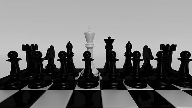 white king for black pieces - defection stock photos and pictures