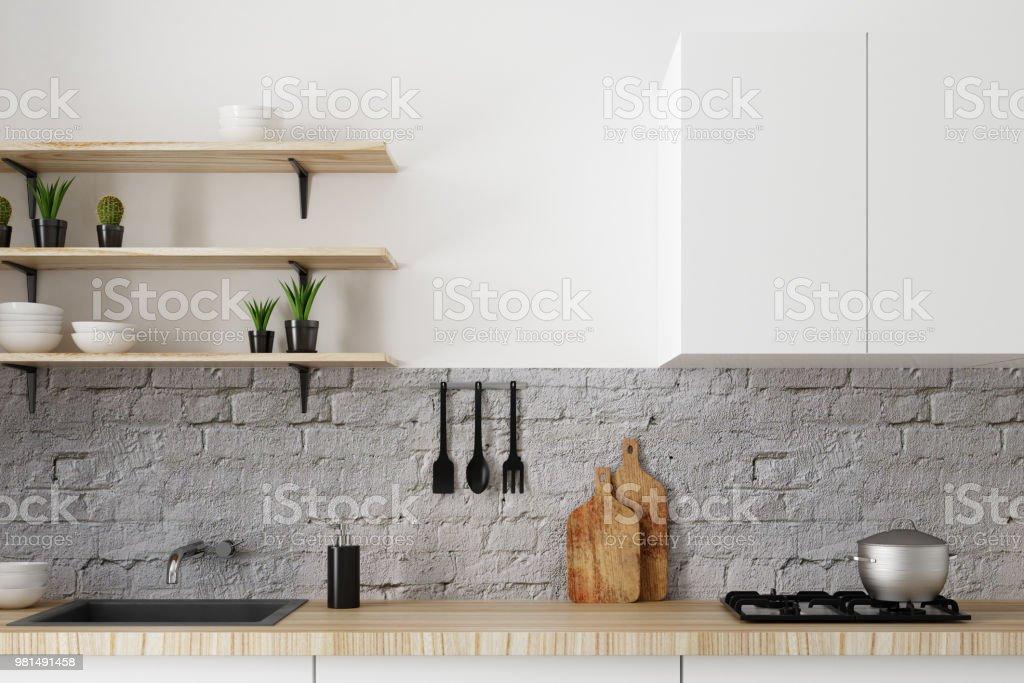 White kitchen counter stock photo