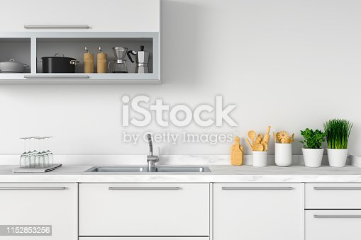 istock White kitchen countertop with sink, 3D rendering 1152853256