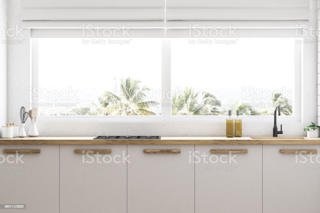 White Kitchen Countertops Under Window Close Up Stock Photo Download Image Now Istock
