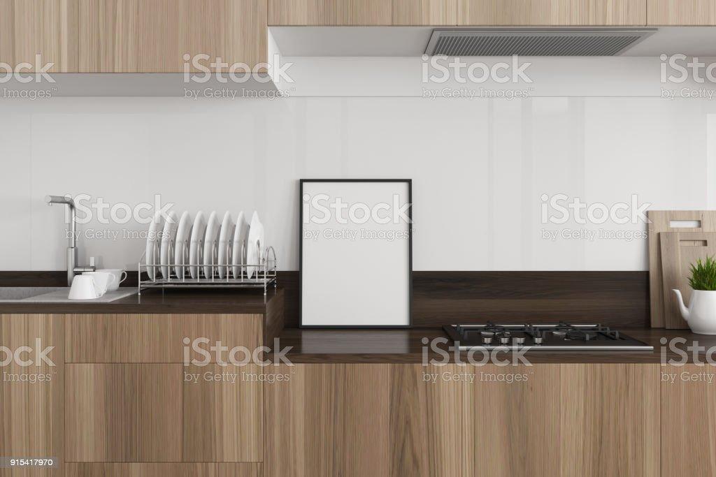 Weiße Küche Dunklen Holz Arbeitsplatte Poster Stockfoto und ...