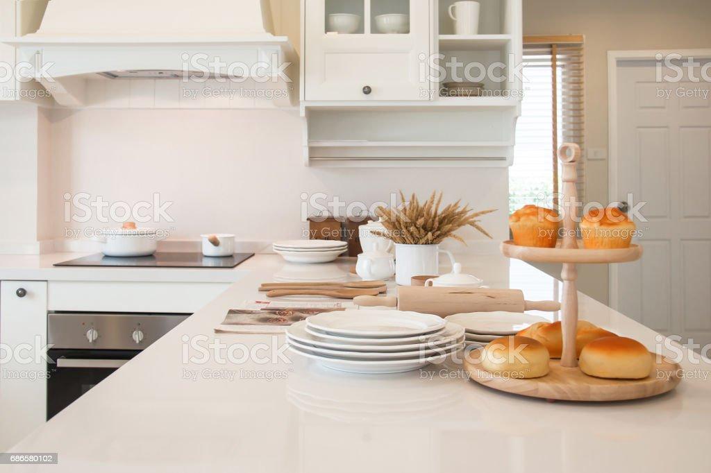 White kitchen decoration mediterranean style. royalty-free stock photo