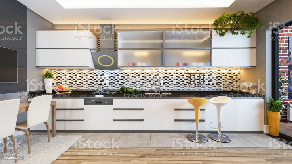 White Kitchen Design Decor Idea Stock Photo More Pictures Of