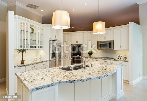 Beautiful traditional home kitchen with white cabinets.