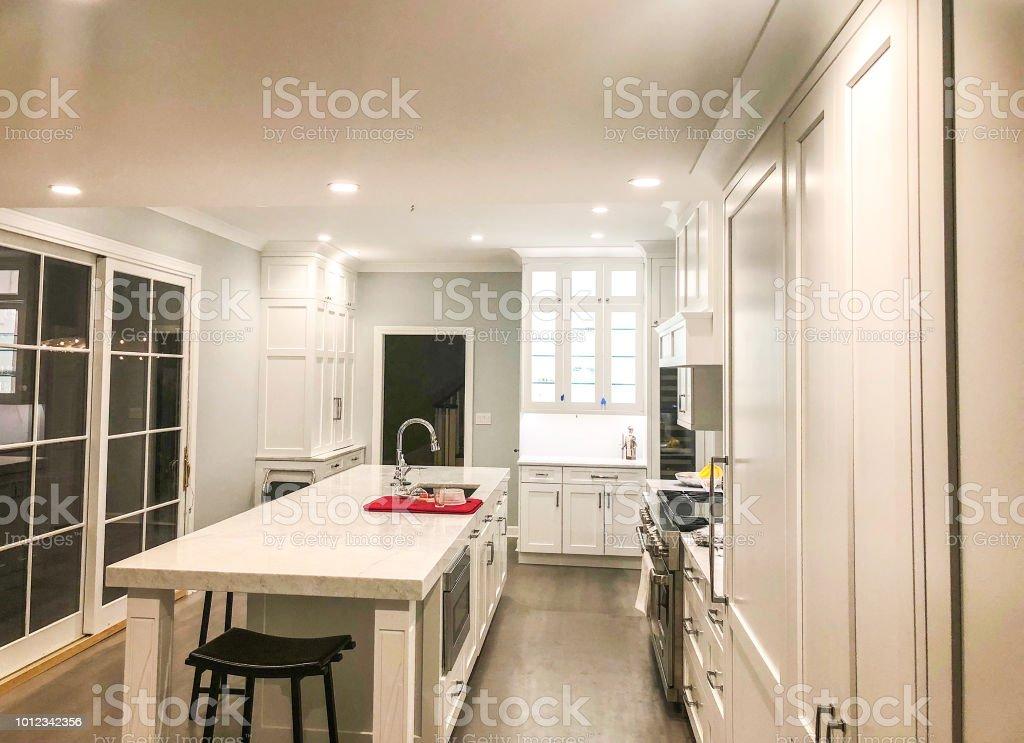White Kitchen Design With Glass Cabinet Kitchen Island With
