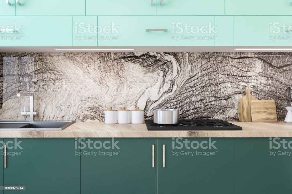White Kitchen Green Countertops Island Close Up Stock Photo Download Image Now Istock