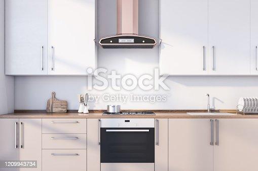 istock White kitchen interior with beige countertops 1209943734