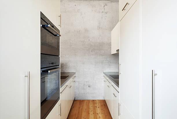 white kitchen architecture modern design, mountain home, kitchen narrow stock pictures, royalty-free photos & images