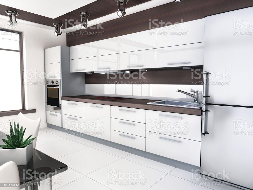 Blanc chambre avec cuisine photo libre de droits