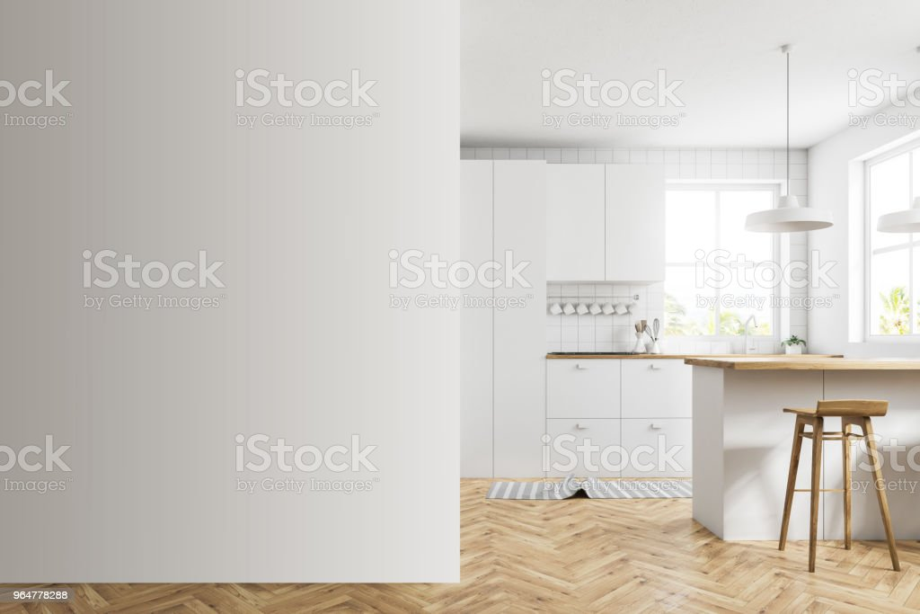 White kitchen with a bar, mock up wall royalty-free stock photo