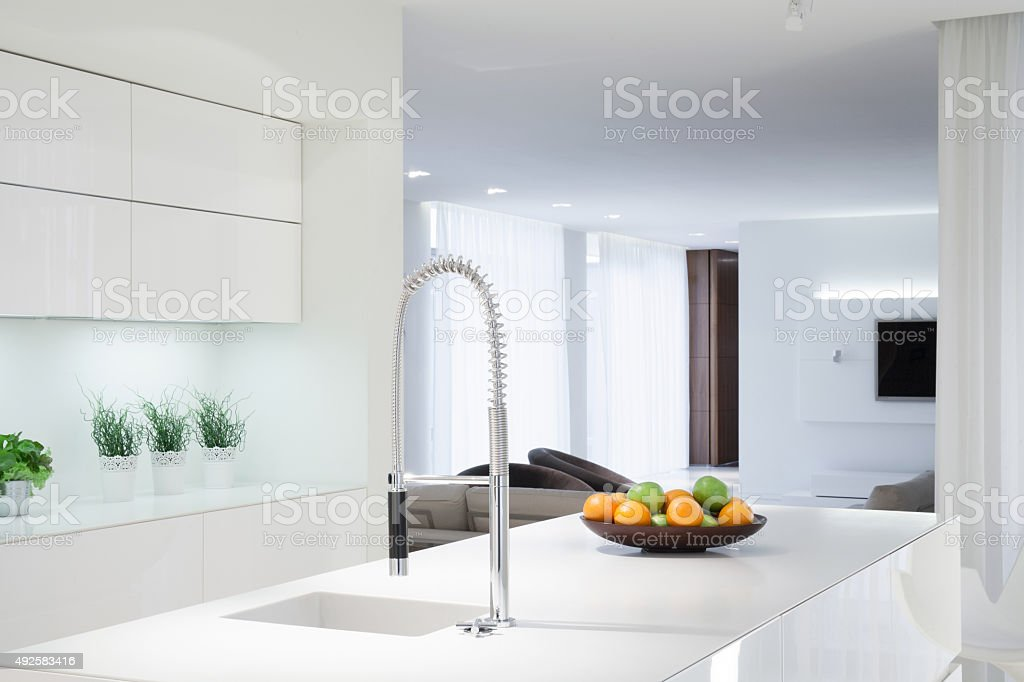 White kitchen with color details stock photo