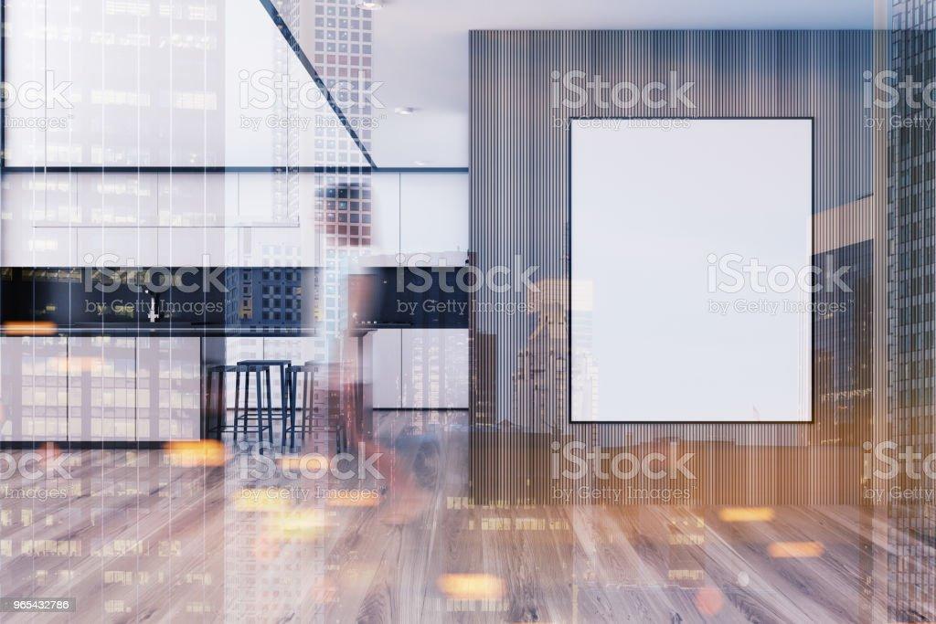 벽에 액자 포스터와 흰색 부엌 톤 - 로열티 프리 가정 생활 스톡 사진