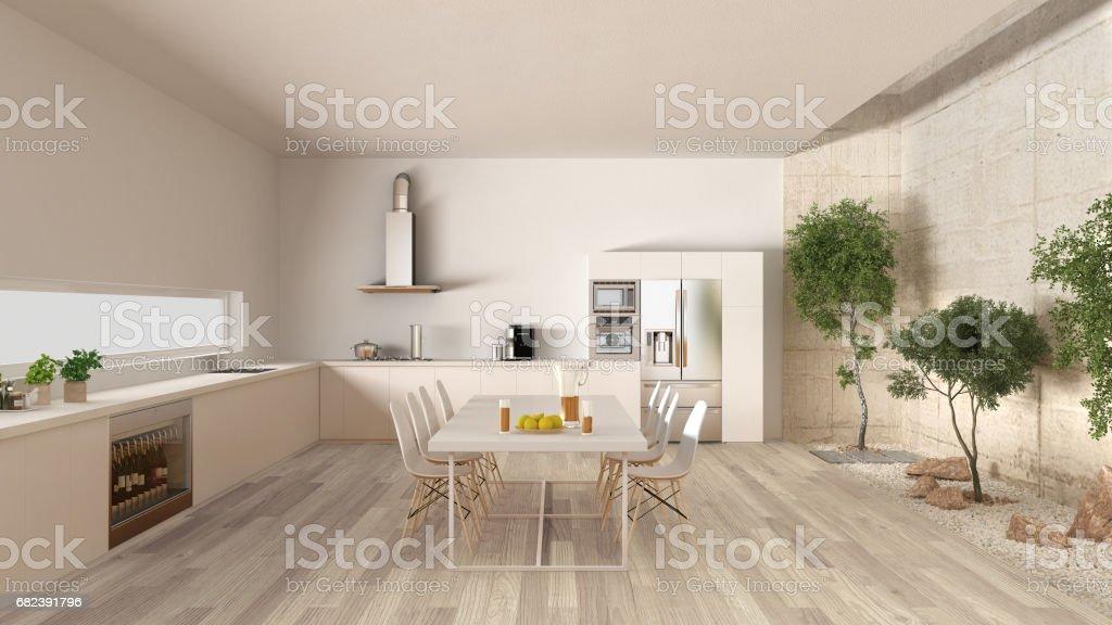 White kitchen with inner garden, minimal interior design foto stock royalty-free