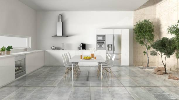 white kitchen with inner garden - küche italienisch gestalten stock-fotos und bilder