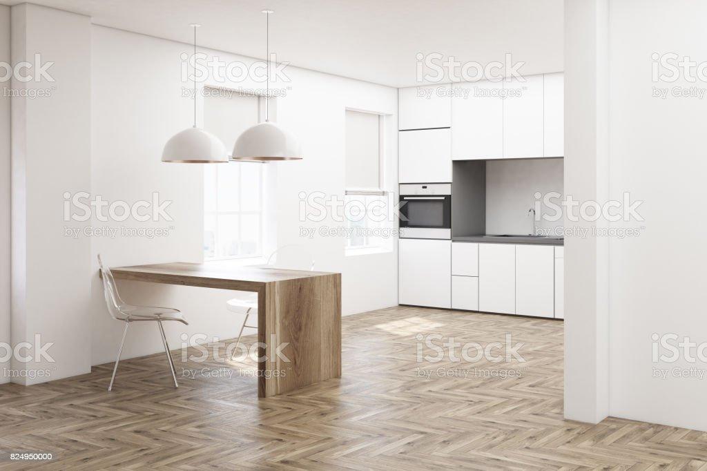 Weiße Küche Holzboden Seite Stockfoto und mehr Bilder von Das Leben zu Hause