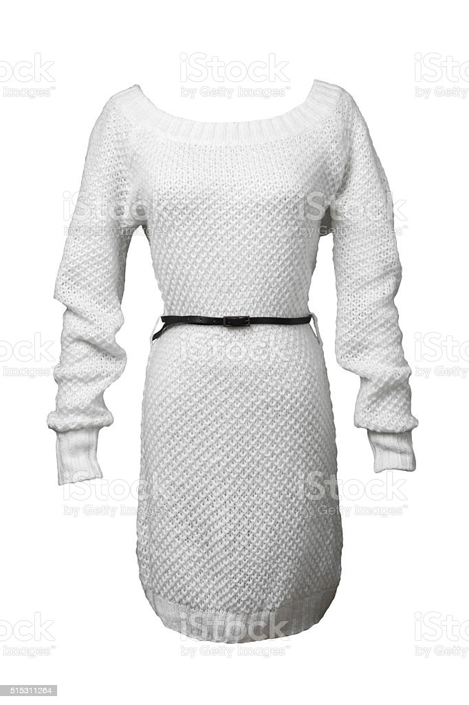 White knitted sweater stock photo