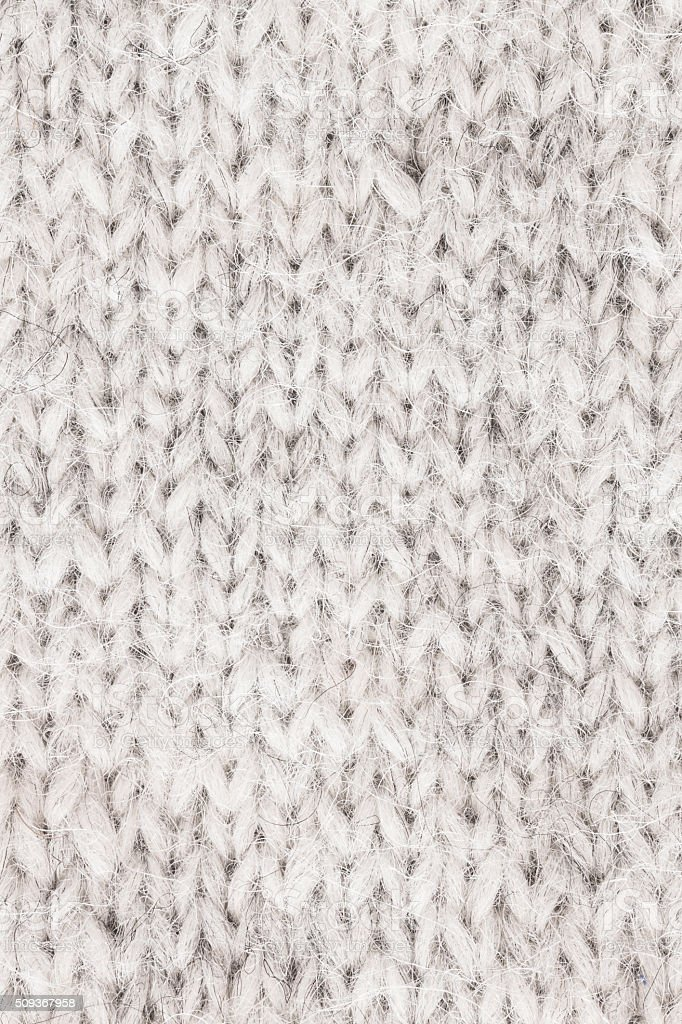 White Knitted Wool - Close Up stock photo