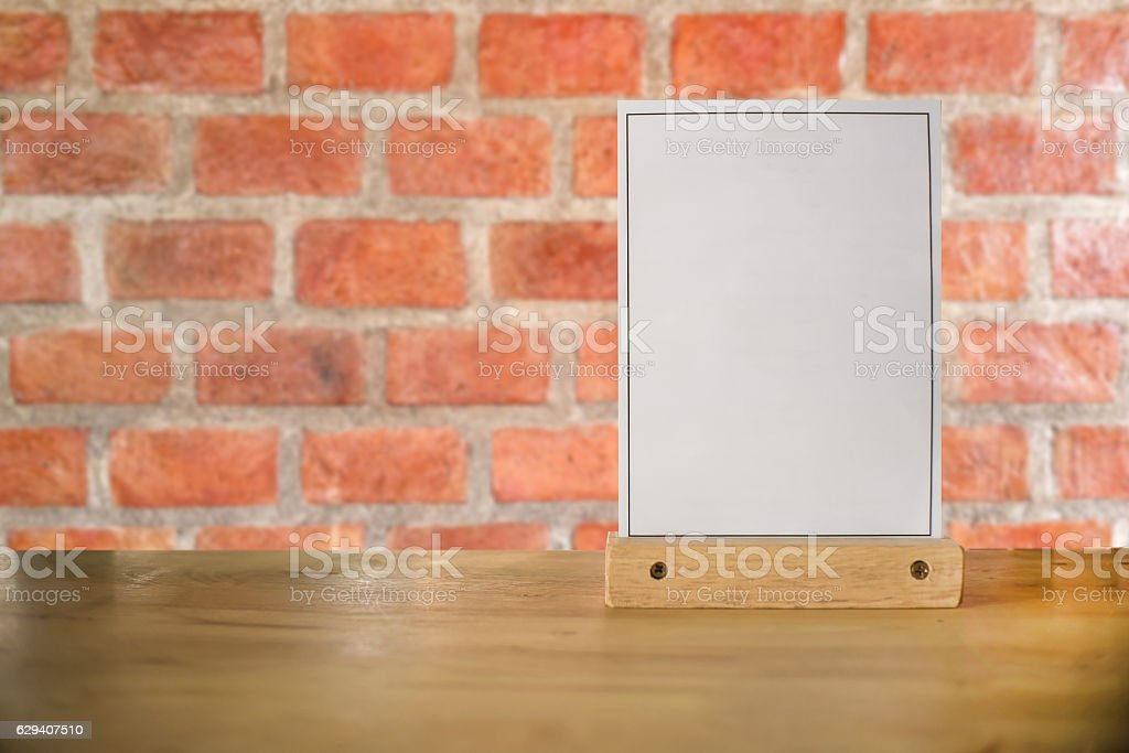 White label on the table. Used for menus . mockup stock photo