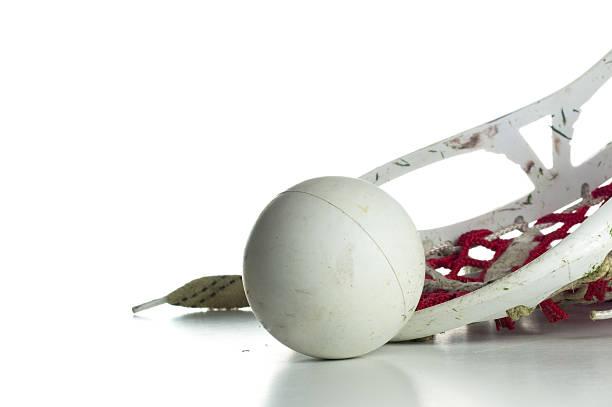 biały lacrosse głowa z czerwony i szary piłka inteligentnymi - lacrosse zdjęcia i obrazy z banku zdjęć