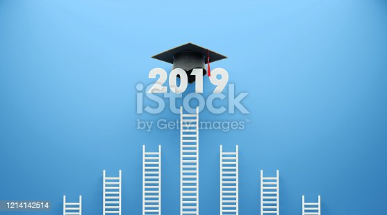 istock White Ladder and 2019 with A Graduation Cap Leaning on Blue Wall 1214142514