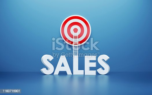 istock White Ladder and Sales Text Leaning on A Target on Blue Wall 1160715901
