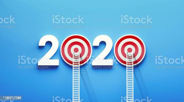White Ladder Leaning on 2020  Target on Blue Wall
