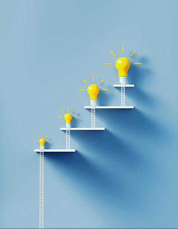 White ladders leaning on yellow lightbulbs to form a graph on over blue wall. Vertical composition with copy space. Creativity and solution concept.