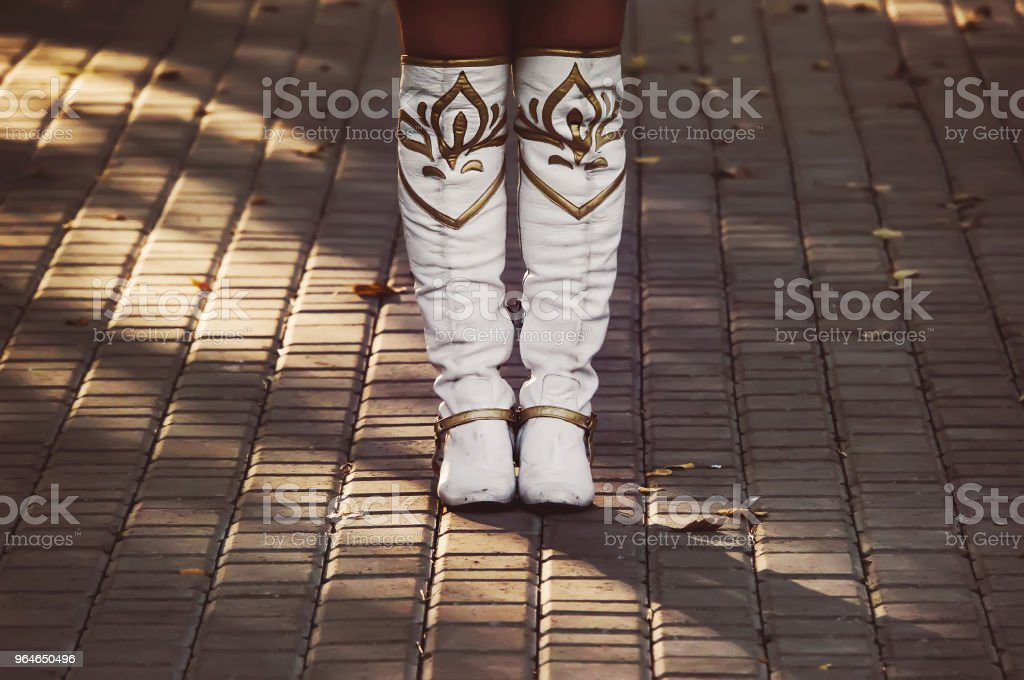 White ladies boots are royalty-free stock photo