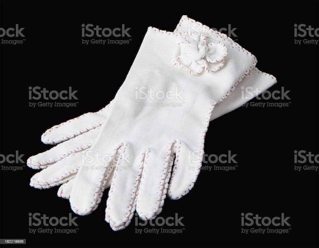 white ladies gloves formal on black stock photo