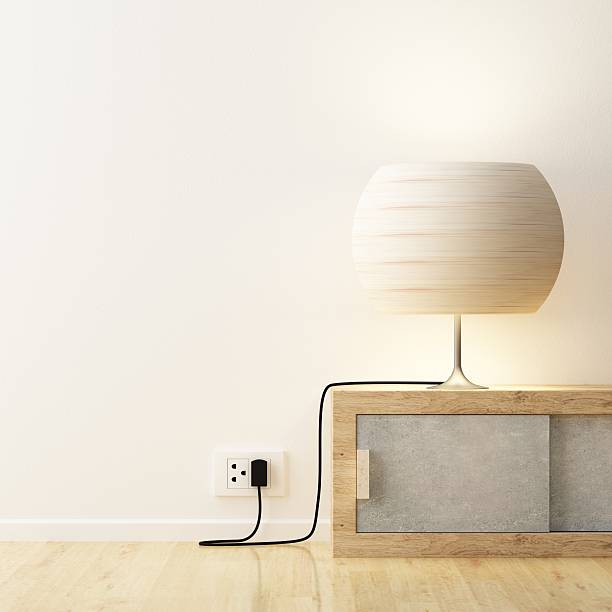 White lamp on cabinet decorate stock photo