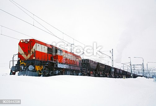 White Landscape: stationary train with red locomotive and iron ore freight cars in snow loading at mine. Logos and ID removed