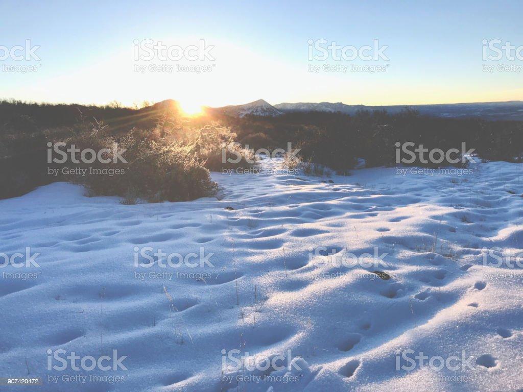 White Landscapes - High Altitude Western Colorado Winter Snowfall Mountain stock photo