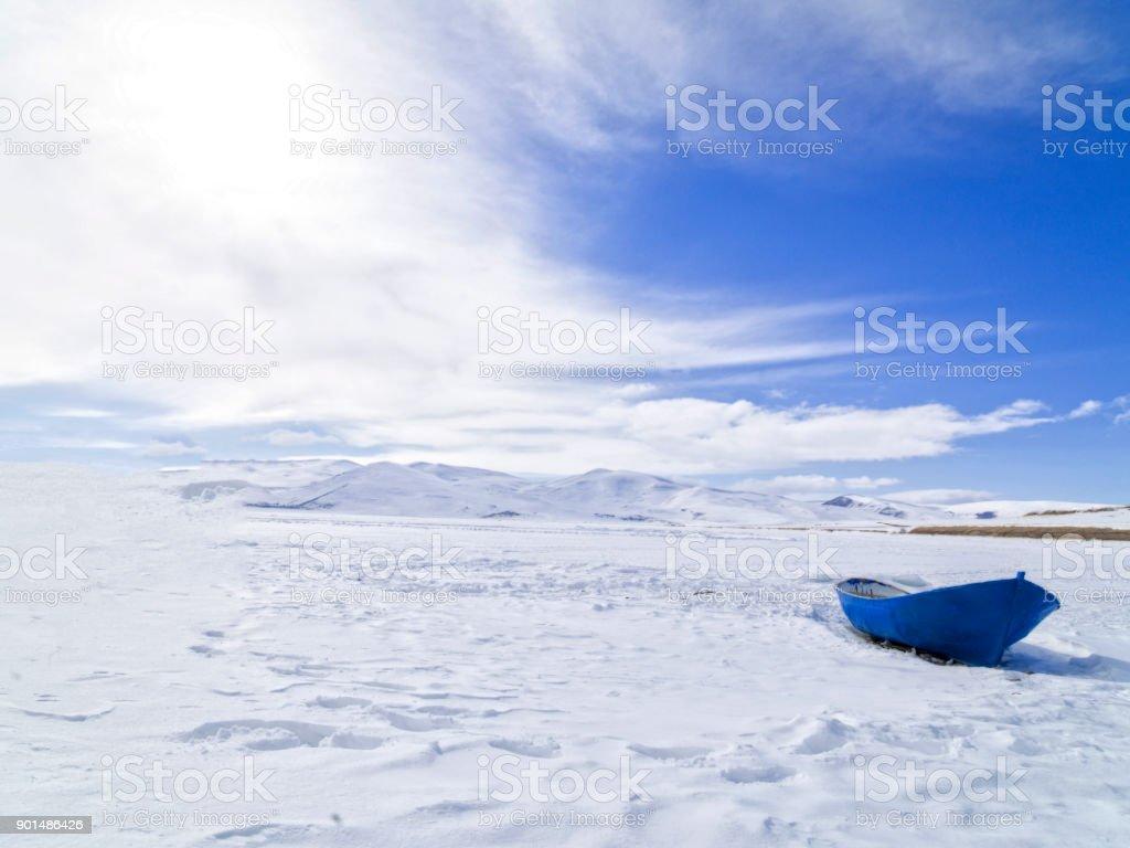 White Landscapesi, ice lake in Kars province, Turkey stock photo