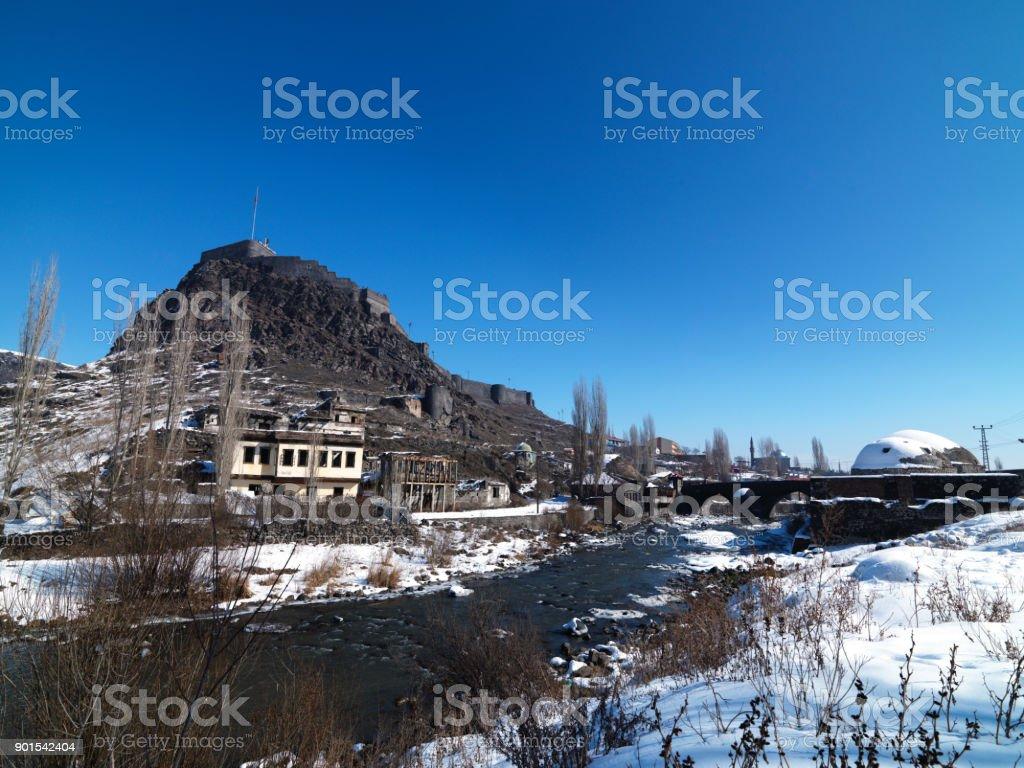 White Landscapesi, View of Kars province, Turkey stock photo