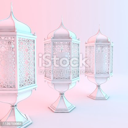 1140668282istockphoto White lantern with candle, lamp with arabic decoration, arabesque design. Concept for islamic celebration day ramadan kareem or eid al fitr adha. 3d rendering illustration 1139759964