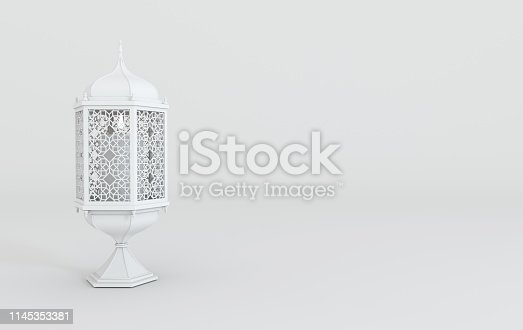 istock White lantern with candle, lamp with arabic decoration, arabesque design. Concept for islamic celebration day ramadan kareem or eid al fitr adha. 3d rendering illustration 1145353381