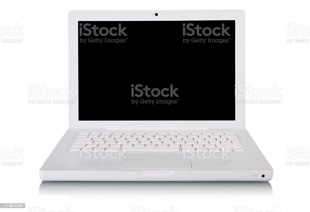 White laptop - front view royalty-free stock photo