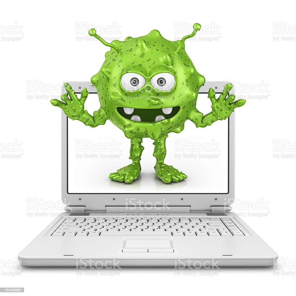 White laptop with green computer bug on screen stock photo