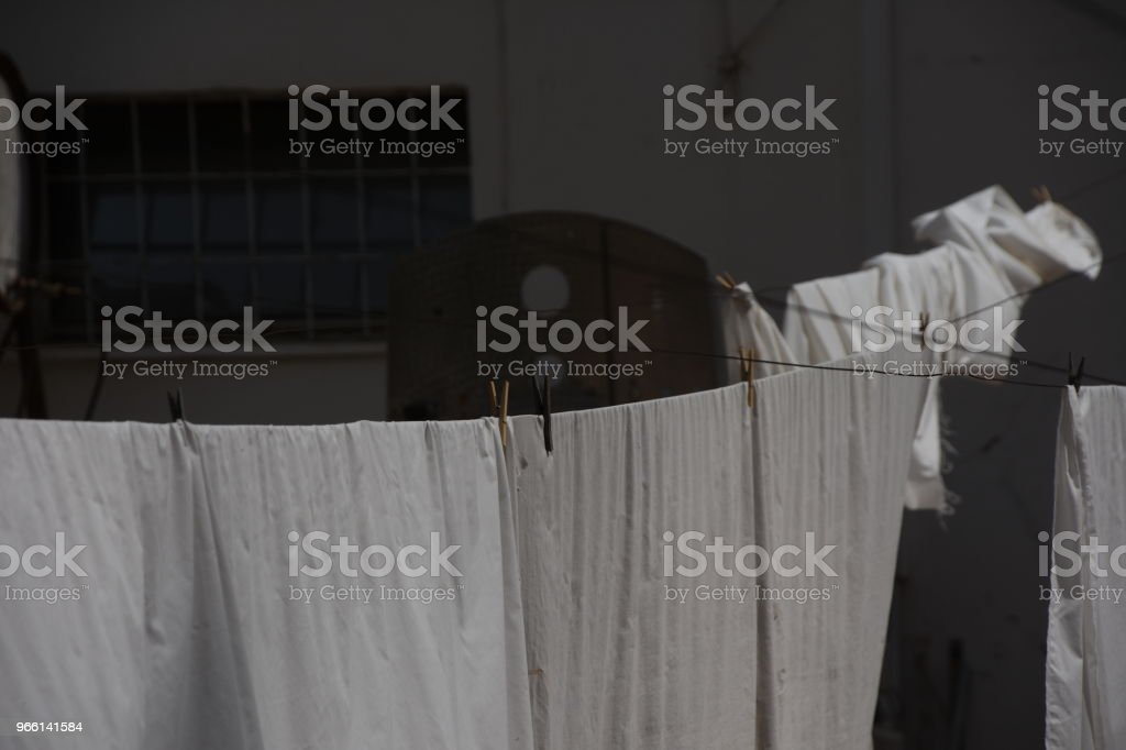 White laundry flapping in the wind - Royalty-free Black And White Stock Photo