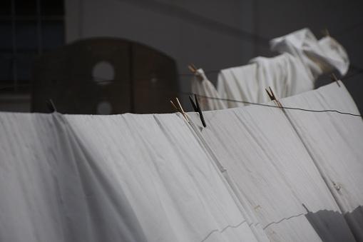 Witte Wasserij Fladderen In De Wind Stockfoto en meer beelden van Begrippen
