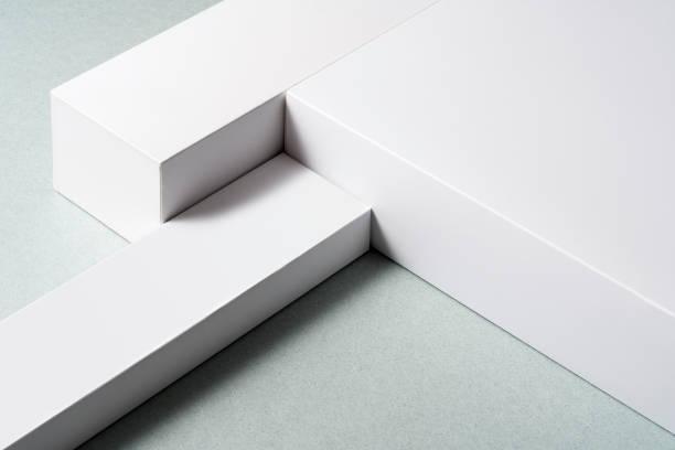 White layered platform background stock photo